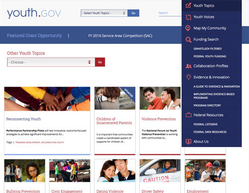 Image showing the website menu with the item 'Youth Topics' selected