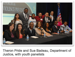 Theron Pride and Sue Badeau, Department of Justice, with youth panelists
