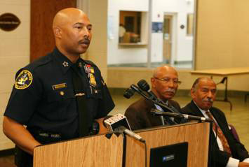 Police Chief Ralph Godbee, Mayor Dave Bing, and Congressman John Conyers, Jr. speaking about Detroit's comprehensive youth violence plan in September 2011