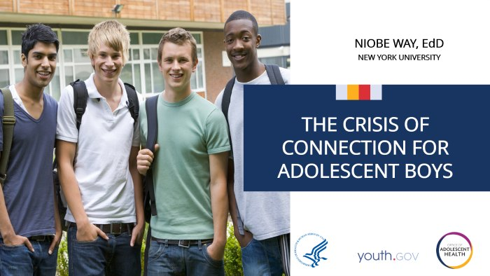 Click here for the video, The Crisis of Connection for Adolescent Boys: A TAG Talk