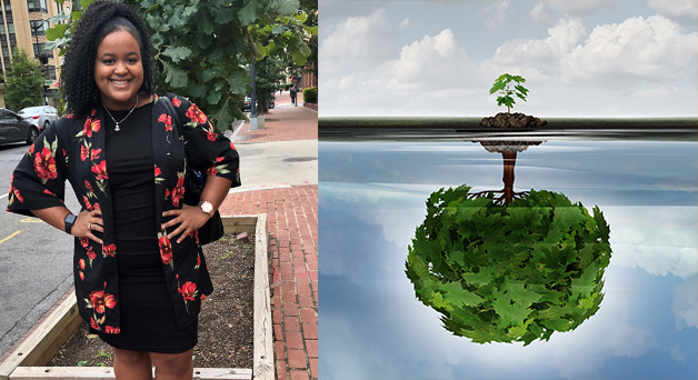 Image of Stacia and tree with reflection