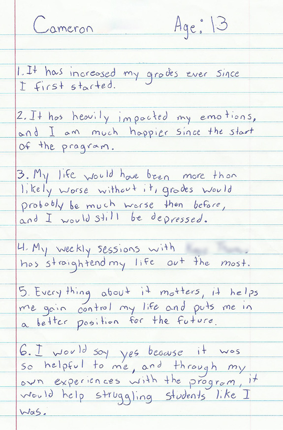 Cameron's handwritten answers to questions