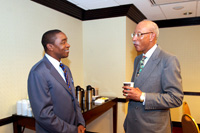 Isaiah Thomas (member of Chicago delegation) and Mayor Dave Bing of Detroit