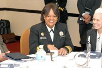 The Honorable Vice Admiral Regina M. Benjamin, MD, MBA, U.S. Surgeon General, U.S. Public Health Service, U.S. Department of Health and Human Services with Barbara Ferrer, Executive Director, Boston Public Health Commission.