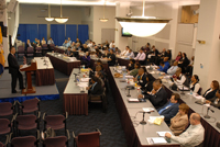 Participants in the Working Session listen to Jeff Slowikowski, U.S. Department of Justice