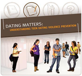 Dating Matters banner featuring photos of several teenagers