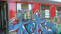 Graffiti on a city bus